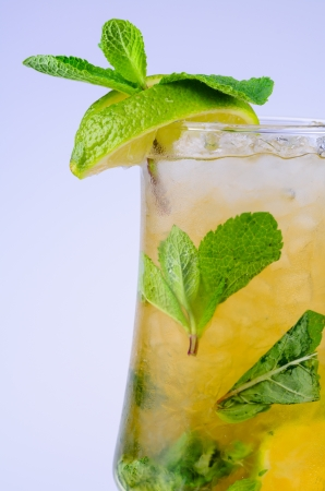 Classic Virgin Mojito summer drink with alcohol with lime Stock Photo