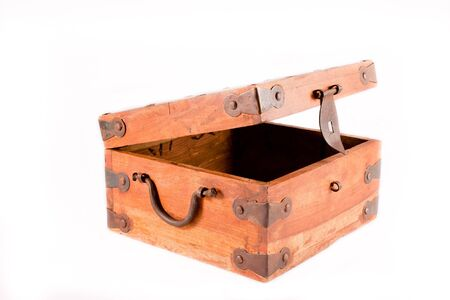 Wooden box opened isolated on white