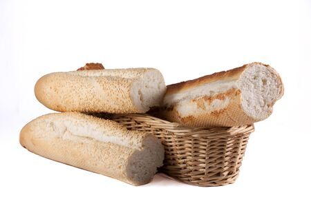 Bread rolls with basket isolated on white background Stock Photo - 13949334