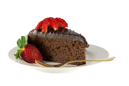 Slice chocolate cake with strawberries isolated on white background Stock Photo - 14537032