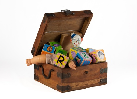 Vintage toy box with clown, doll, blocks isolated on white