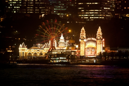 Luna Park on Sydney Harbour at night