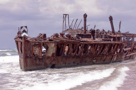 Shipwreck of the Maheno on Fraser Island Australia Stock Photo