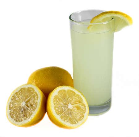 Glass of lemonade with lemons isolated on white background Stock Photo - 15906859