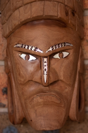 Wooden hand carved tribal face mask