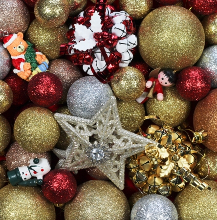 Gold, red, silver christmas decorations
