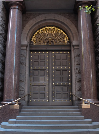 Vintage city business entrance doors photo