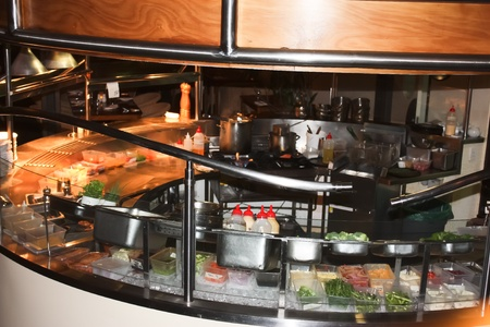 Restaurant kitchen with food preparation ready for service Stock Photo - 17747630