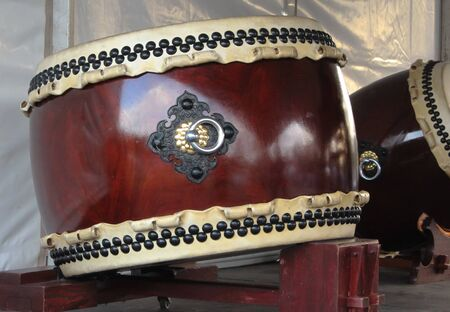 Japanese taiko drum on stand Stock Photo