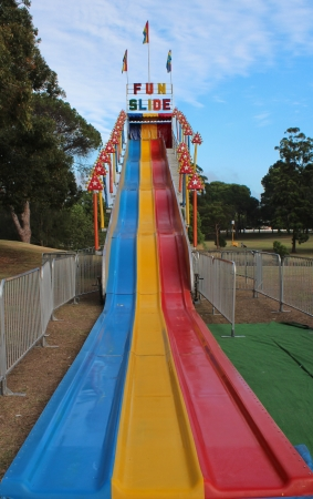 Amusement park Fun slide ride Stock Photo