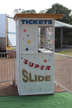 Amusement park ticket booth Stock Photo