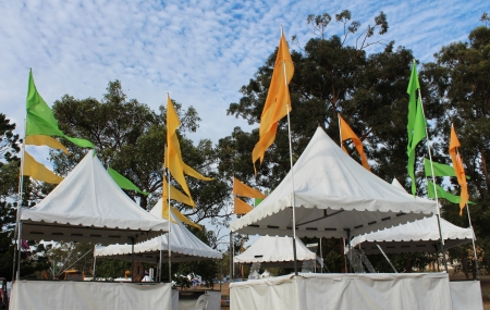 Group of market tent stalls at country fair