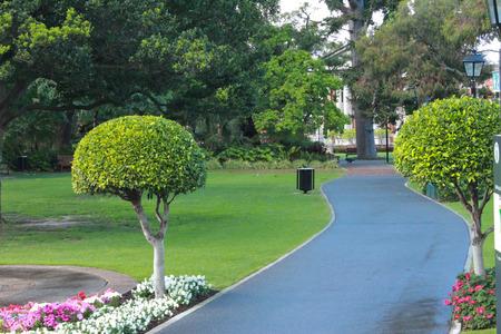 Inner city garden park with pathway Stock Photo - 23320284