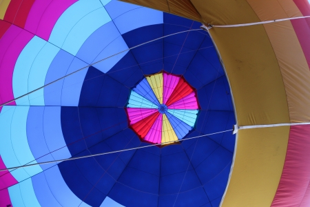 Interior of hot air balloon with blue and pink patchwork design Stock Photo