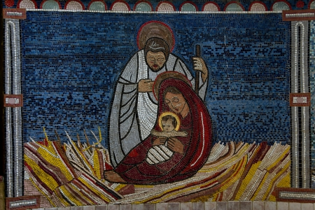 Tile mosaic of baby Jesus with Mary and Joseph at Christmas