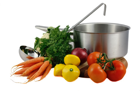 Soup vegetables with cooking pot isolated on white Stock Photo