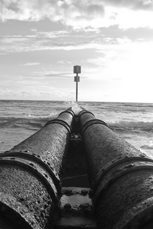 Storm water pipeline at beach