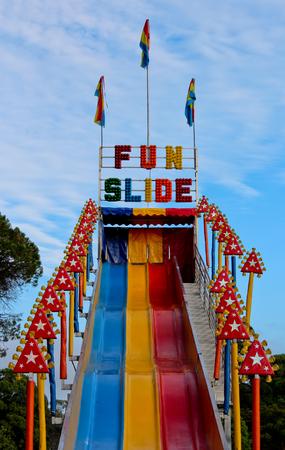 Fun slide at outdoor amusement park