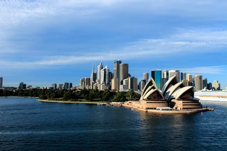 Sydney Australia city skyline with opera house from harbour