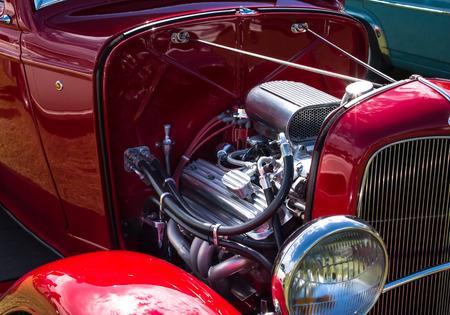 Red vintage motor car engine