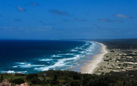 Ocean beach aerial view of Moreton Island Queensland Australia