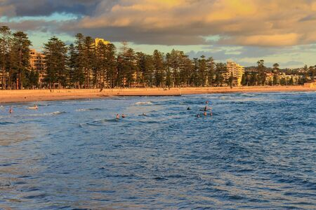 Morning swimmers Manly Beach Sydney Australia