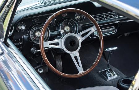 Interior of vintage motor sports car