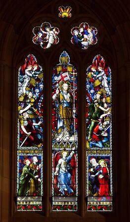stained glass windows: Stained glass windows of St Marys Cathedral, Sydney Australia