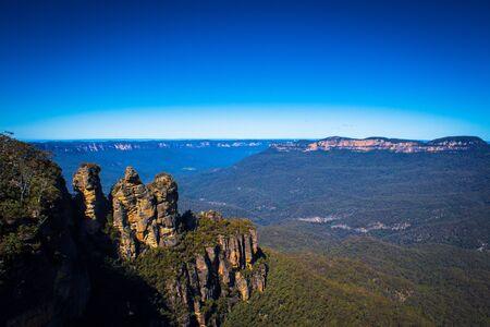 Three Sisters landmark in Blue Mountains National Park Australia Stock Photo