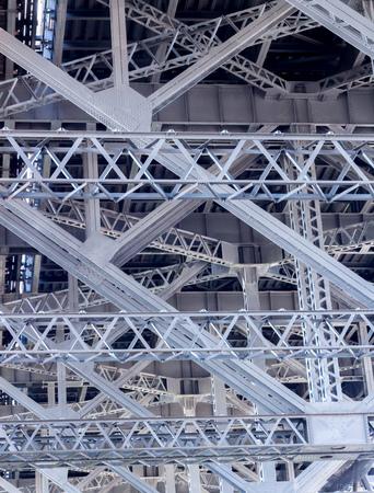 Metal framework beams of underside of Sydney Harbour Bridge