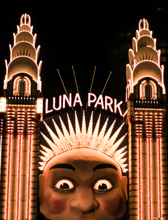 Face of Luna Park Sydney Australia at night Stock Photo