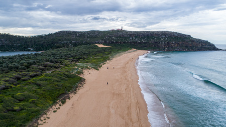Aerial view of Barrenjoey lighthouse and Palm Beach in Sydney Australia Stock Photo