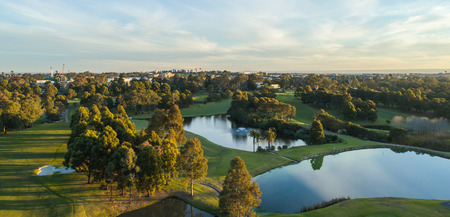 Aerial view of golf course in Sydney Australia showing dams, bunkers, fairways and greens Stock Photo