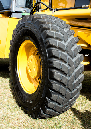 Large wheel tyre of bulldozer tractor digger