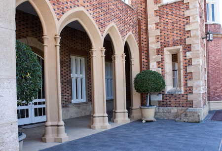 Stone archways of Victorian built Government House in Perth Western Australia