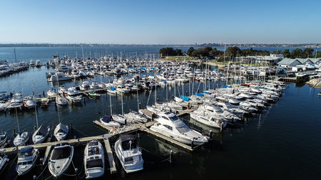 Aerial view of boating marina with yachts and speedboats on Swan River in Perth, Western Australia Фото со стока