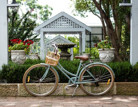 Retro ladies bicycle with basket standing against garden retaining brick wall with lush green shrubs in background Фото со стока
