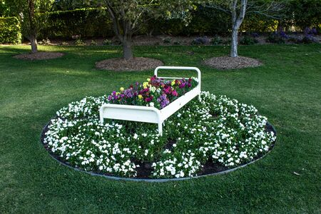 Circular bed of flowers with decorative bed, white gardenias, green grass, trees Standard-Bild