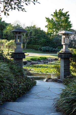 Winding garden path with Chinese style lanterns on pillars leading to water lilies floating on pond with trees in background