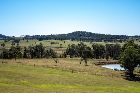 Rural Australian farmland with water dam, fences, hilltop covered in eucalyptus gum trees