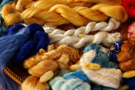 colorful silk yarn background