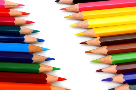 Colour pencils on a white background