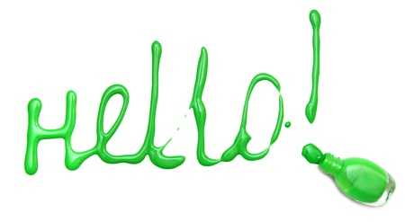 Word  hello  from the poured nail polish  On white background Stock Photo - 12923387