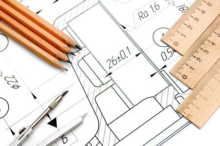 図面、コンパス、鉛筆および定規 写真素材