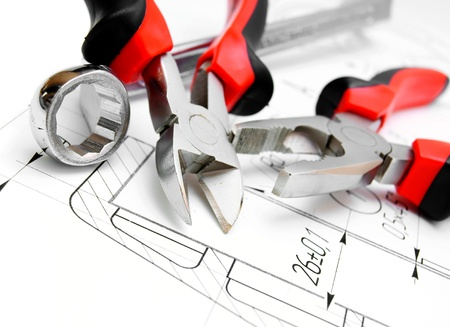 flatnose: The drawing and tools  flat-nose pliers, a wrench