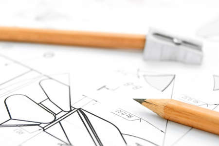 ure: Pencils and the drawing  Stock Photo