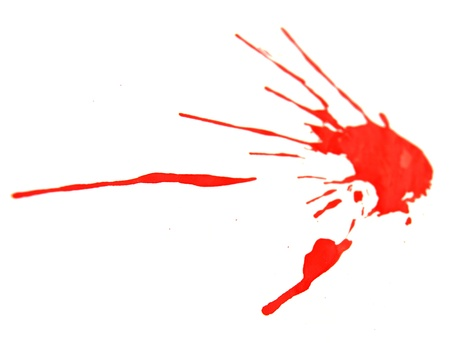 Red splashes on a white background