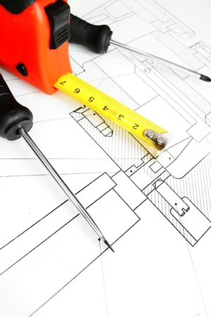 Tools on the drawing Stock Photo - 13808164