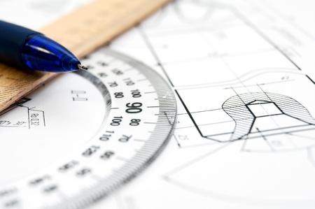 compas de dibujo: El dibujo, regla y un lápiz Foto de archivo