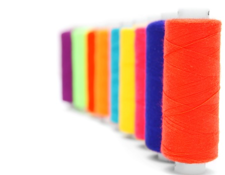 Multi-coloured threads  On a white background Stock Photo - 13806627